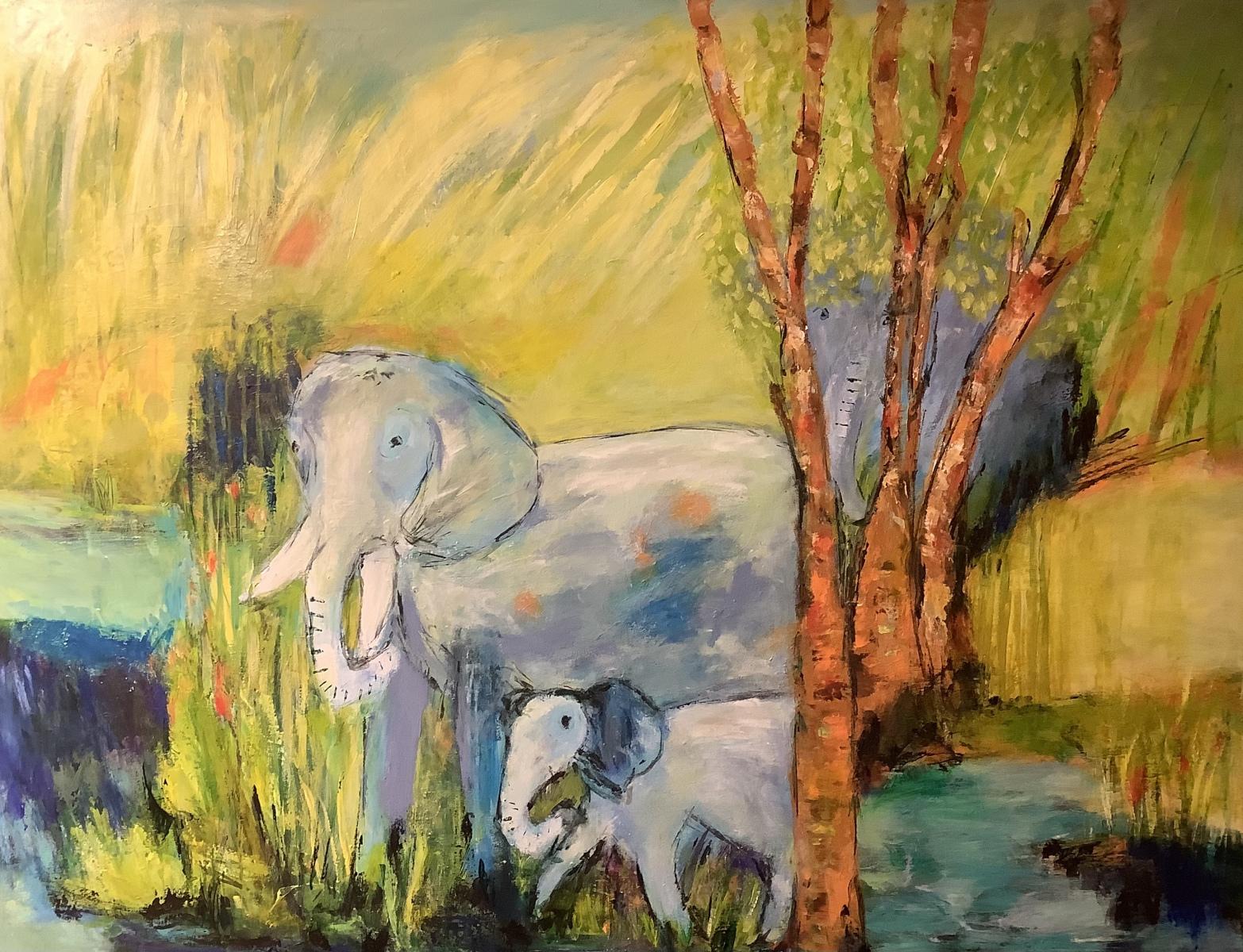Elefanter  måler 90 x 70 cm