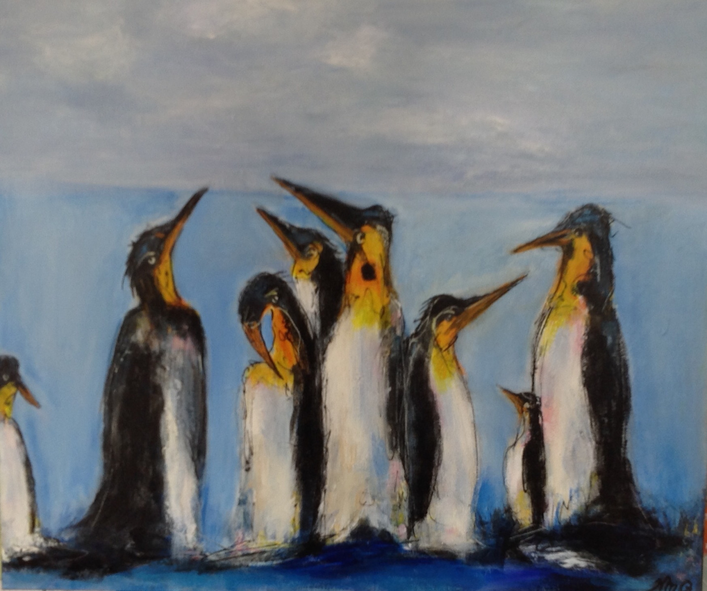 Pingviner nr 2  60 x 50 cm