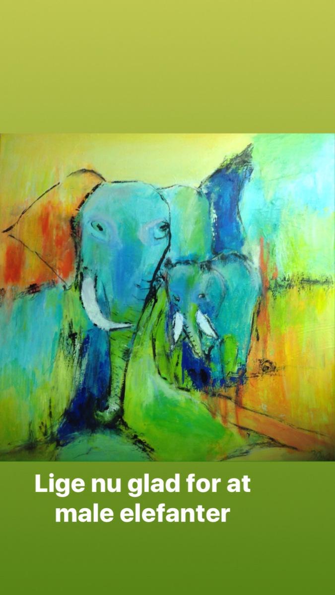 Elefanter 60 x 60 cm nr 1