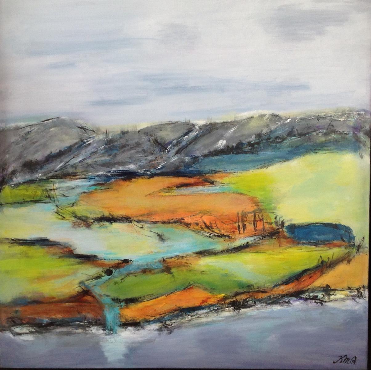 Det grønne landskab 80 x80 cm