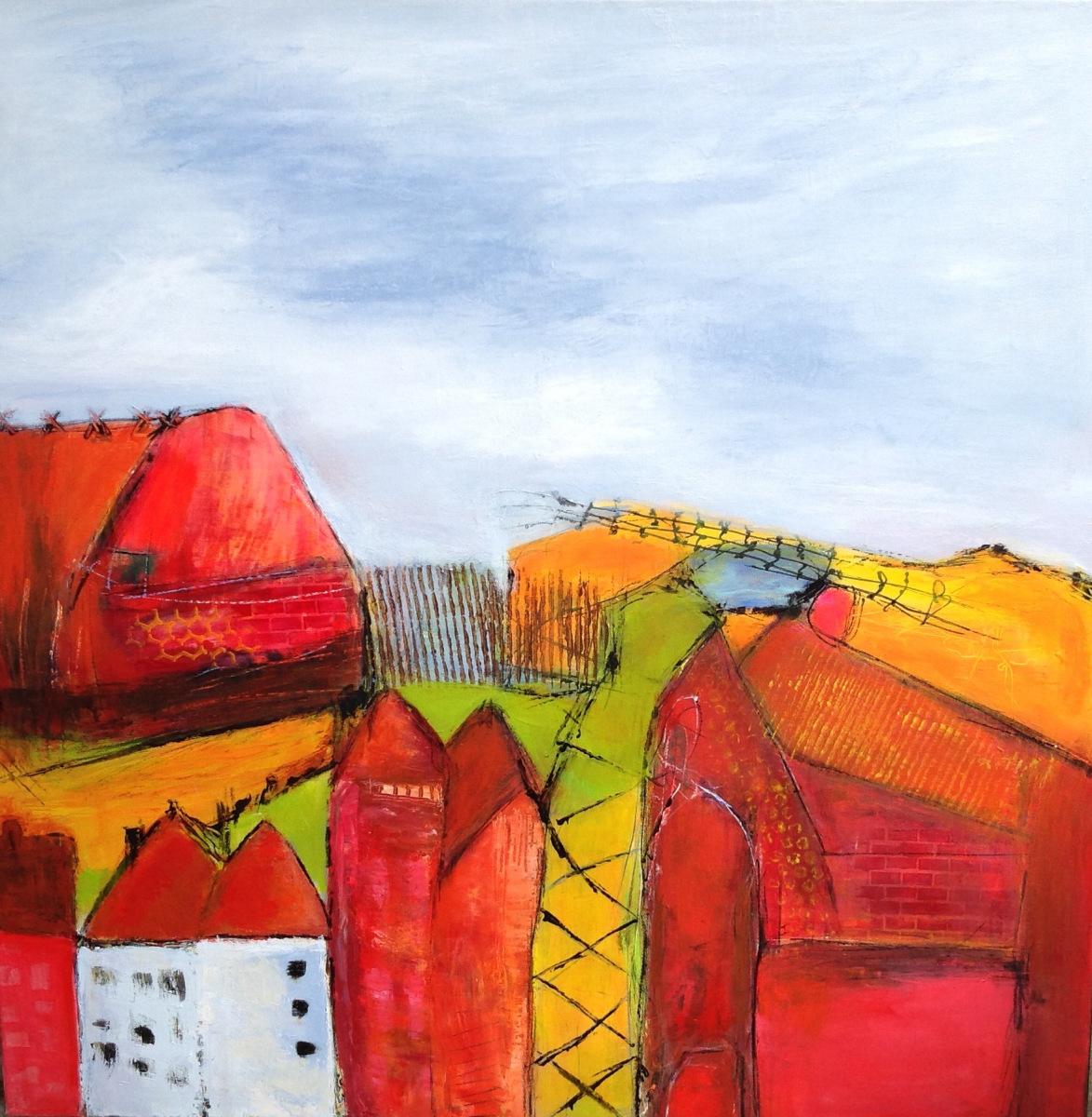 """"""" De røde huse """" 80 x 80 cm"""