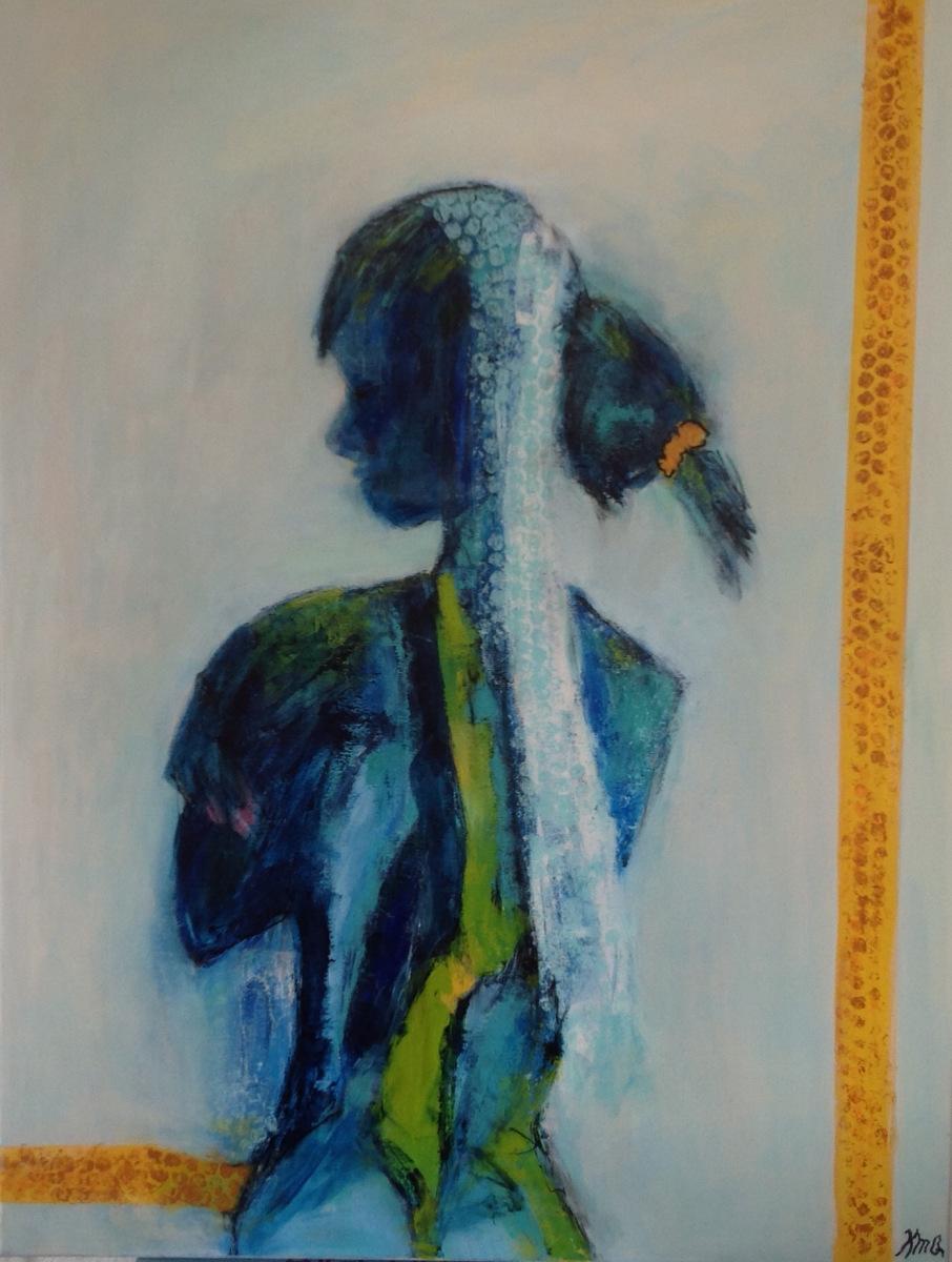 Kvinde i blåt 80 x60 cm