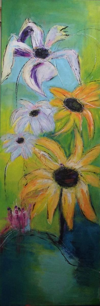 Mit første billede af blomster  40 x 100 cm
