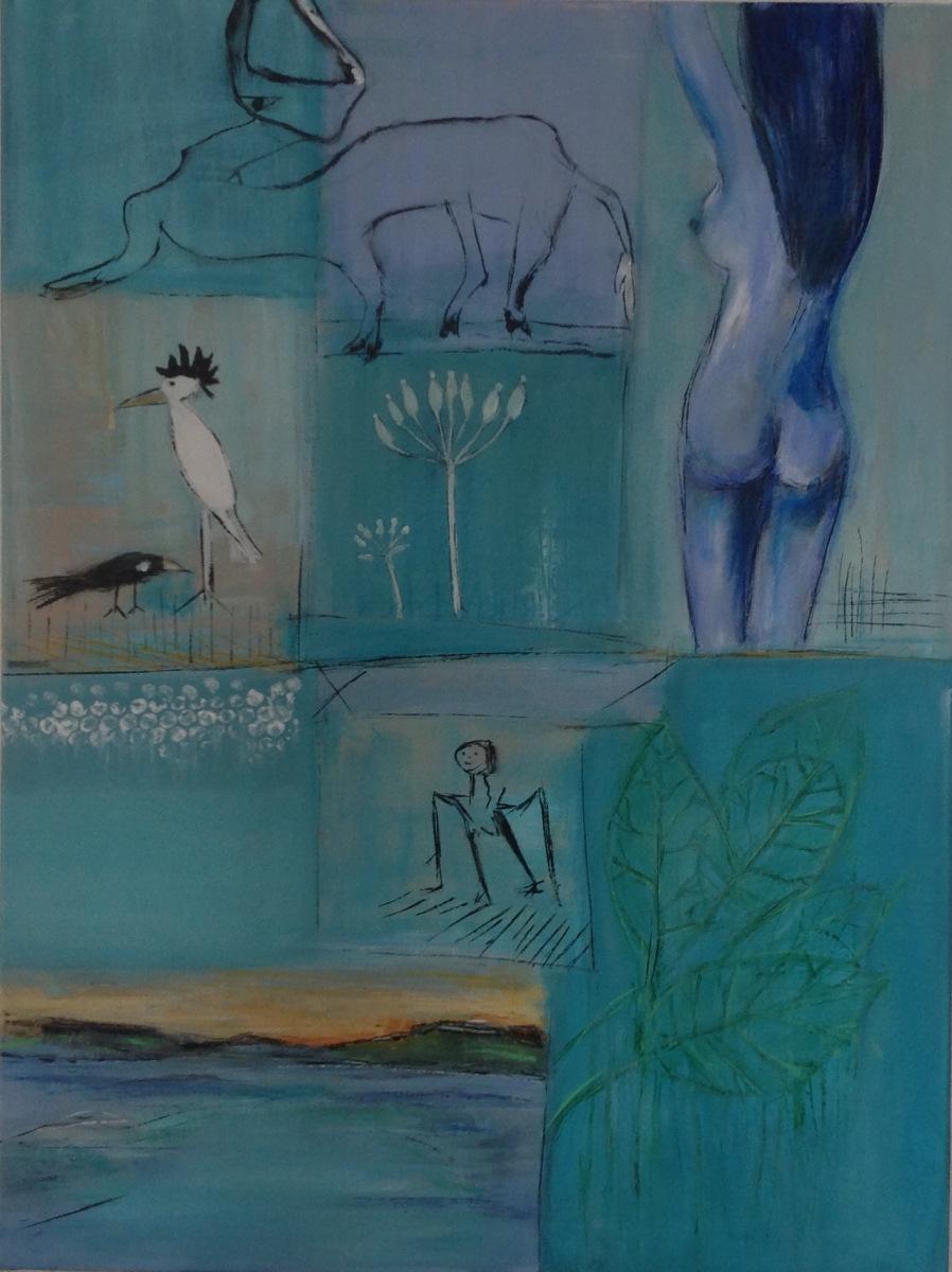 Blå stemning 80 x 60 cm  gave til B og M