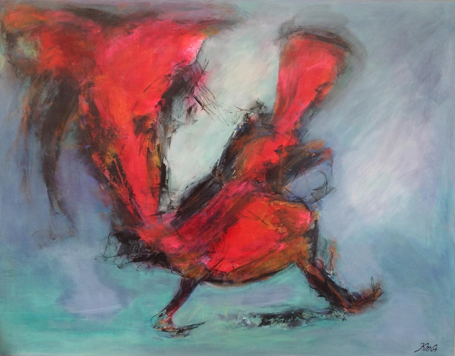 Rødhætte og ulven. 90 x 70 cm