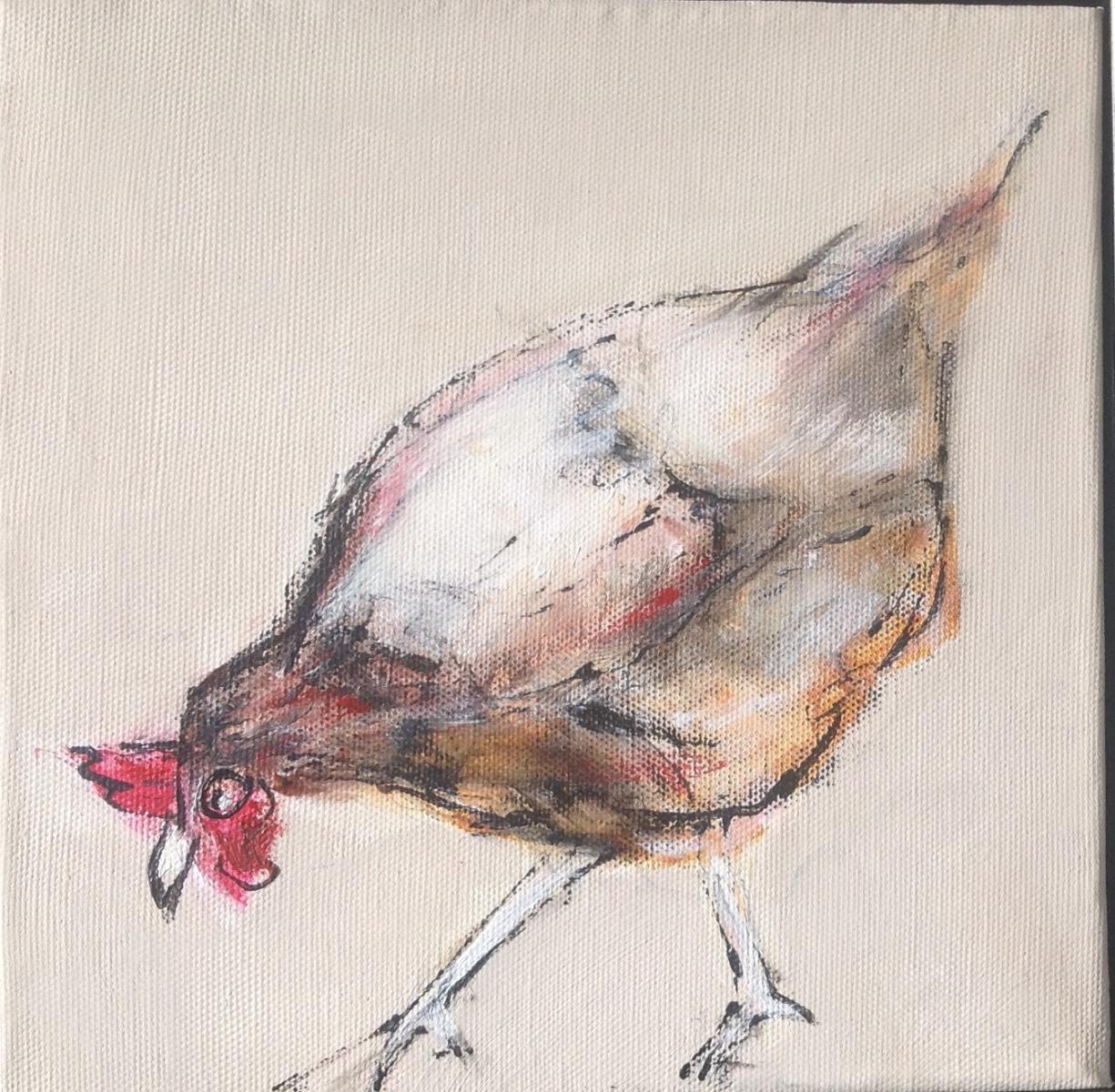 Høne 20 x 20 cm  solgt til Fi