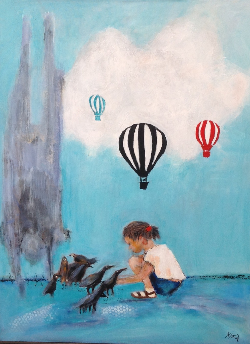 Pigen med luftballoner 80 x 60 cm