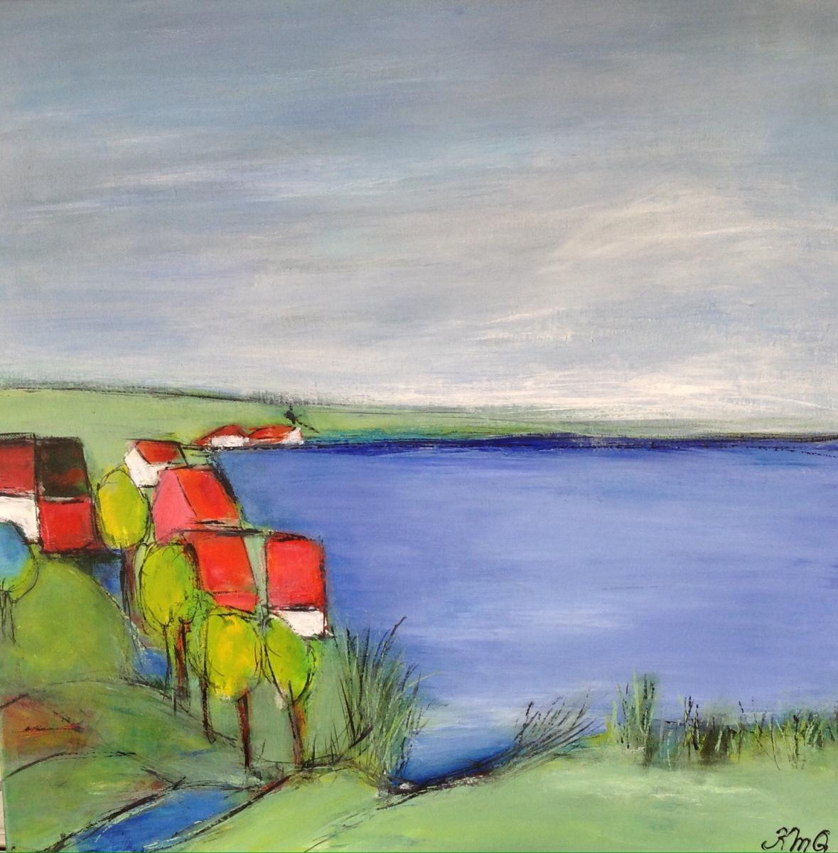 """"""" Byen ved vandet """" 50 x 50 cm"""