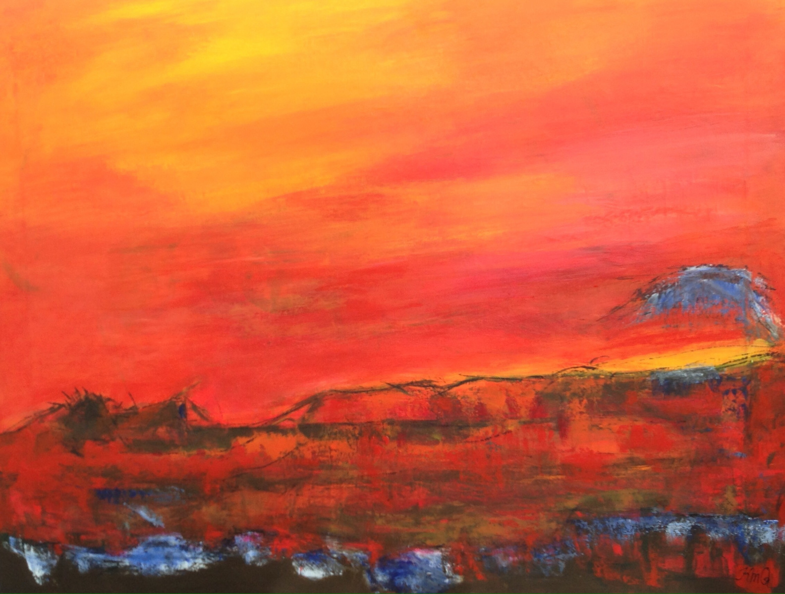 Rød nat 90 x 70 cm malet over