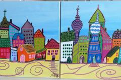 """Naivistisk  """" Byen """" 30 x30 cm"""