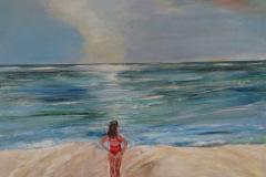Kvinde ved havet 90 x 70 cm