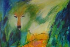 Ulven kommer  akryl på lærred måler 80x60 cm