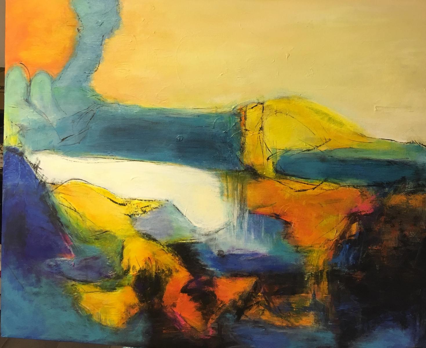 Abstrakt landskab måler 90 x 70 cm