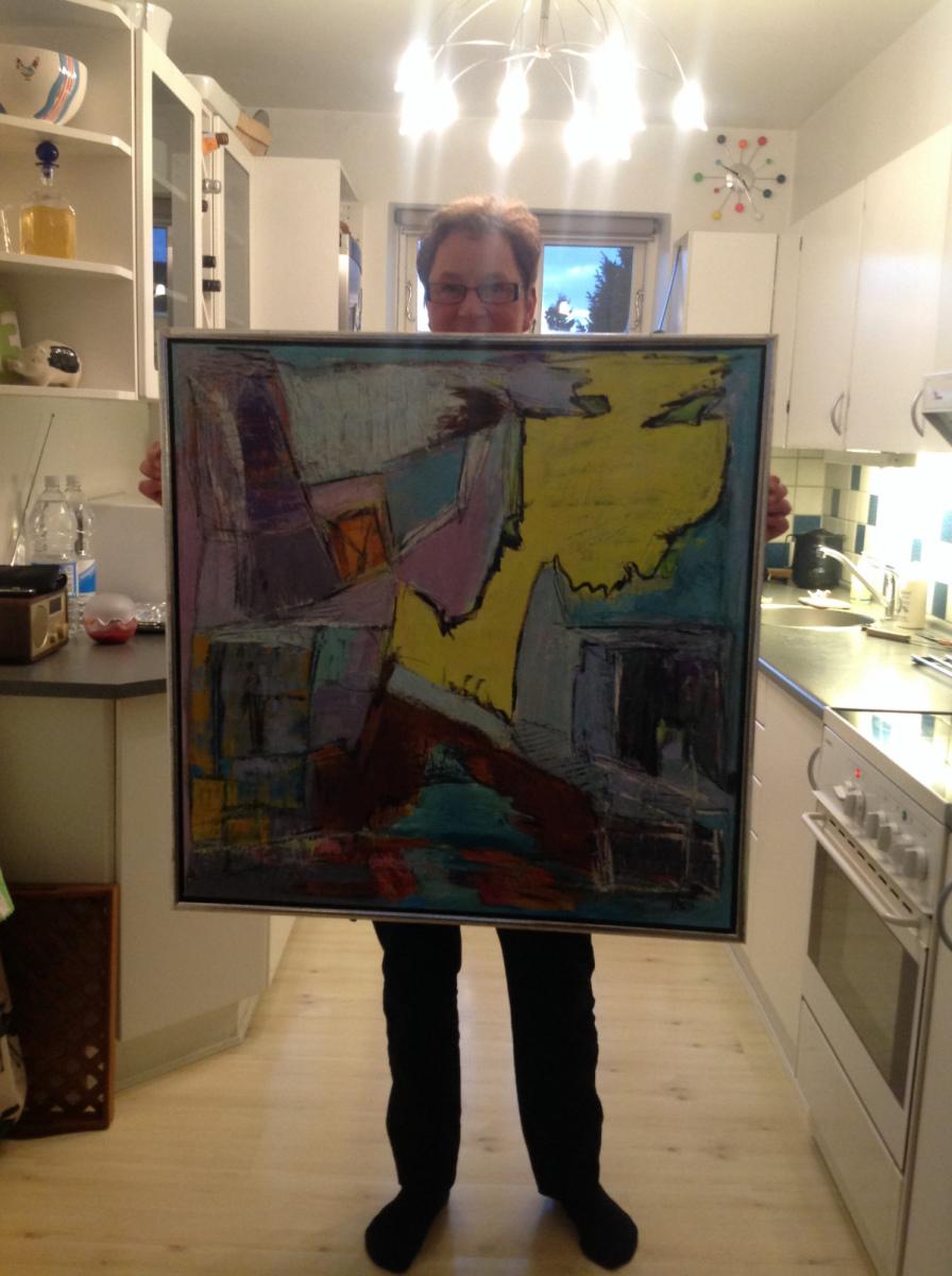 Nyder at male Abstrakt  måler 80 x 80 cm