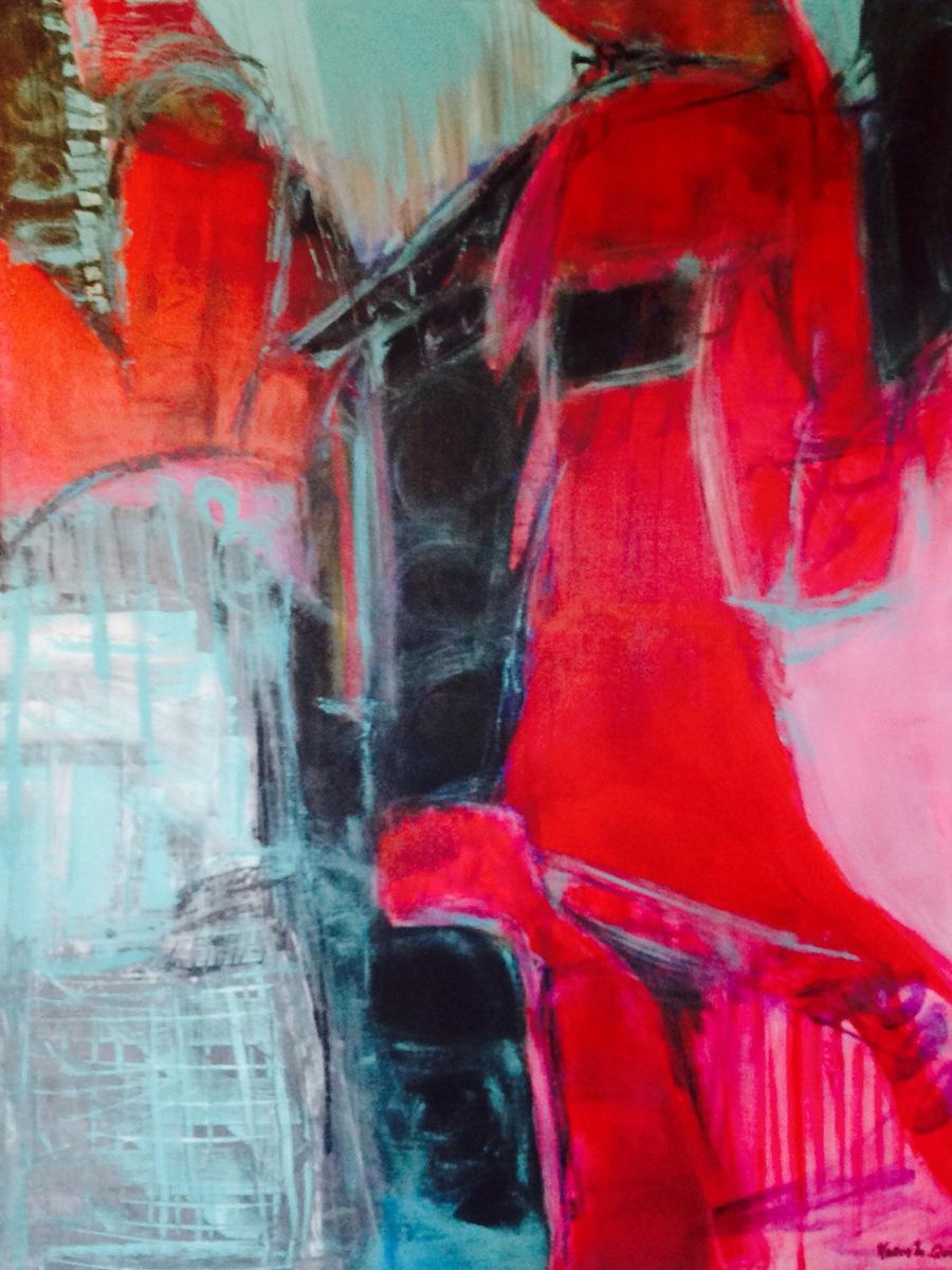Kvinde i rødt 80 x60 cm