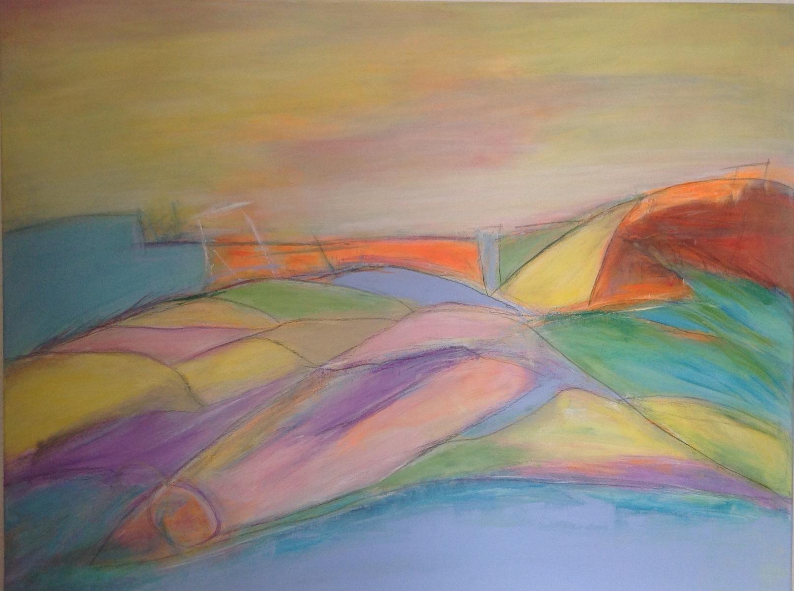 Har prøvet at male i lyse farver 80 x 60 cm