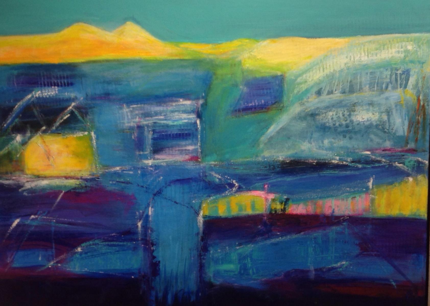 Blå landskab  80 x 60 cm