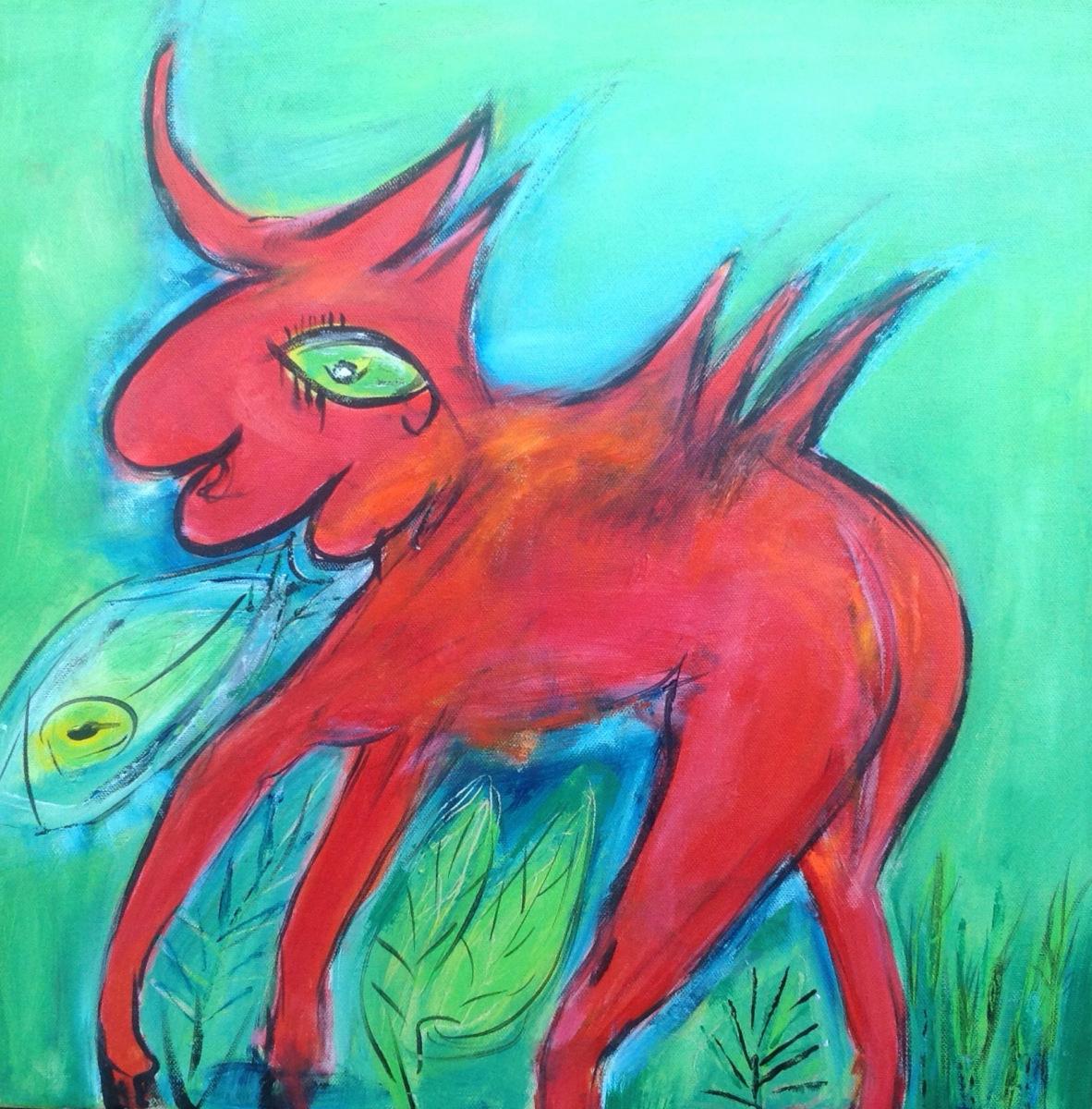 """""""Den røde himmelhest """" 50 x 50 cm"""