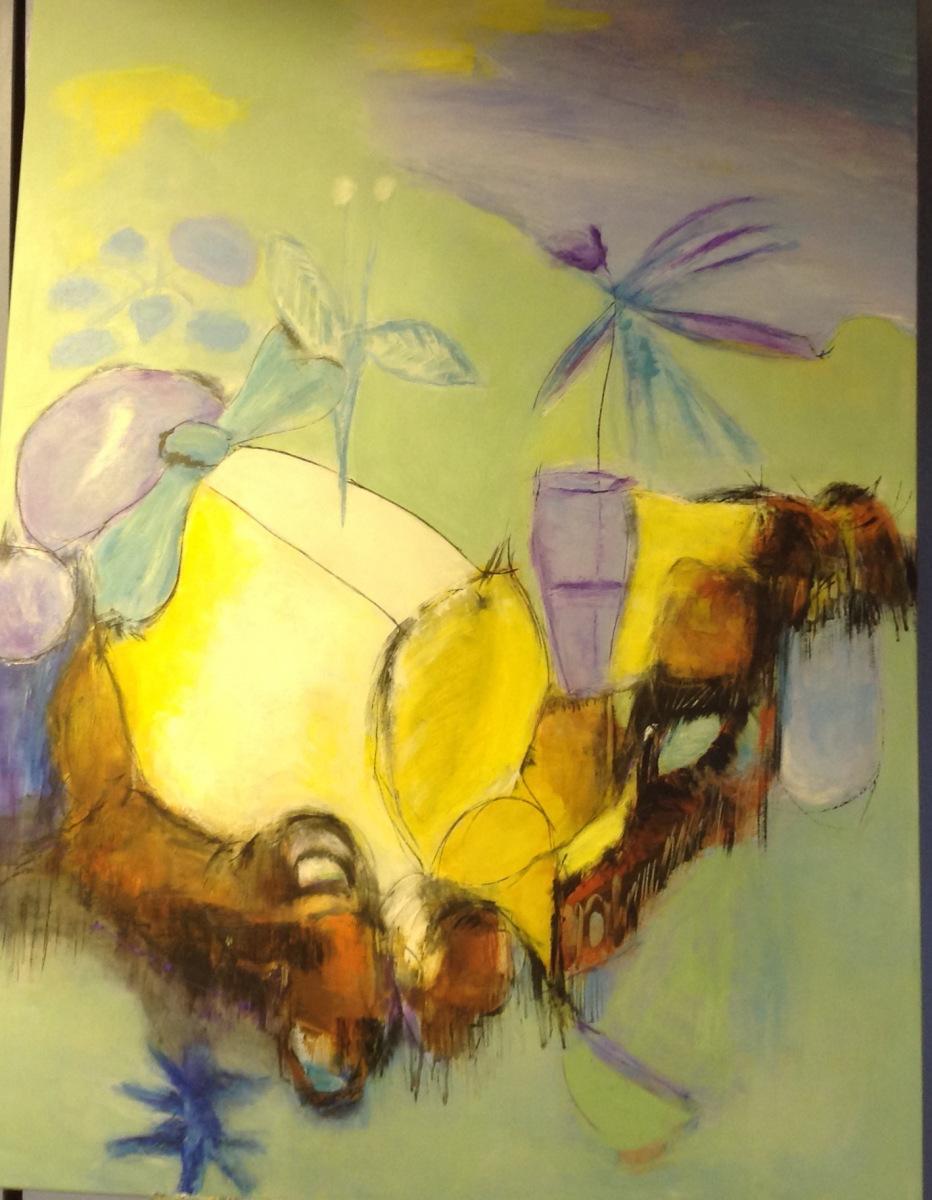 Stort abstrakt malet over