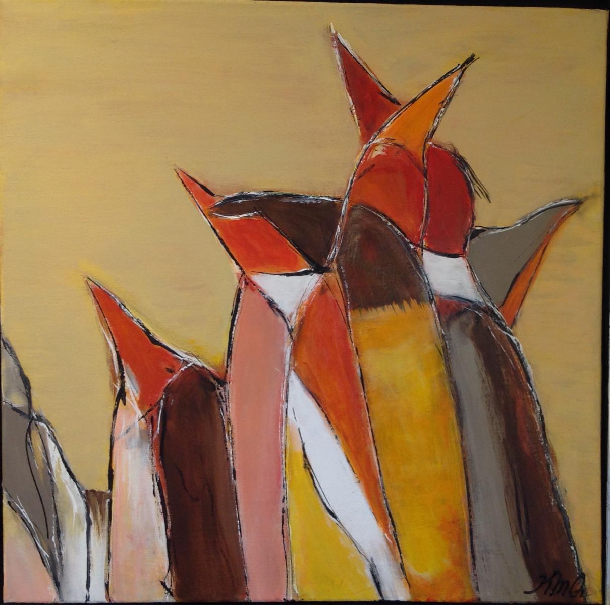 Pingviner 40 x40 cm solgt oktober 2020 fra Hotel Marina