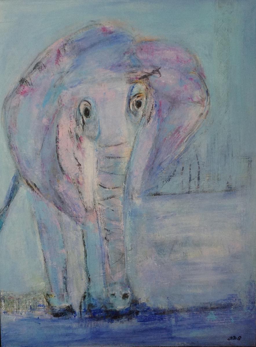 Elefanten 80 x 60 cm   Solgt fra TT