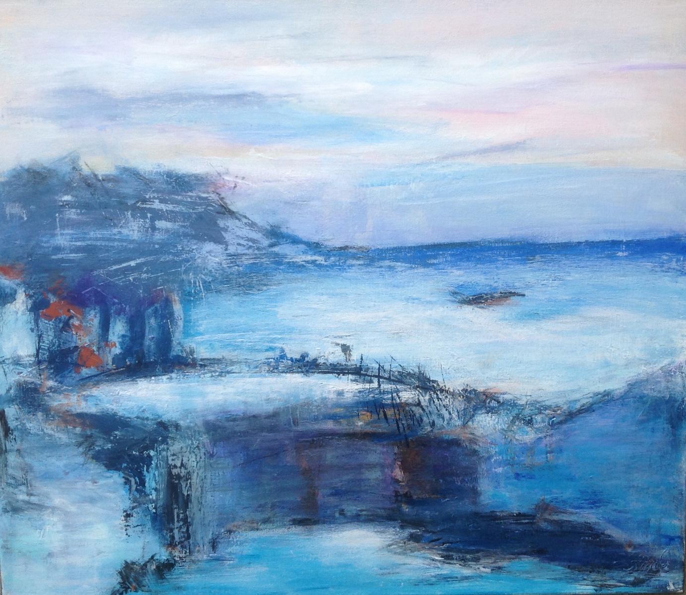 """""""Det blå landskab """" 60 x 50 cm"""