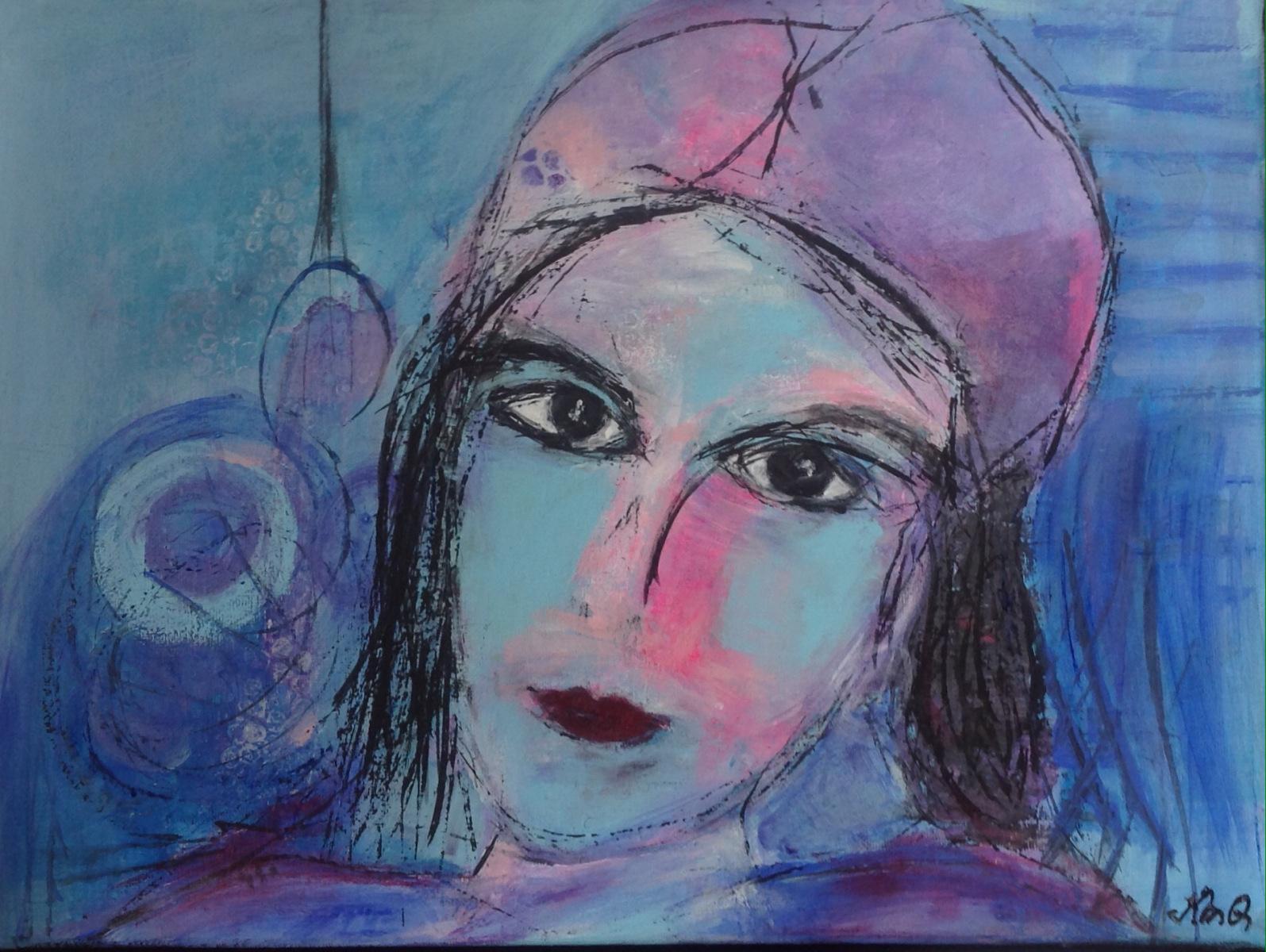 Forsøger mig med portræt maleri  Den blide pige