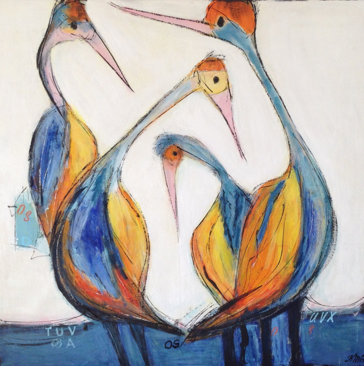 Farvede Traner 80 x 80 cm  solgt til J N