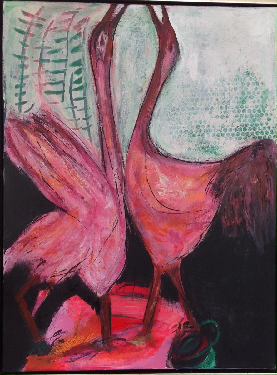 """""""Røde Traner """" 80 x 60 cm  gave til T"""