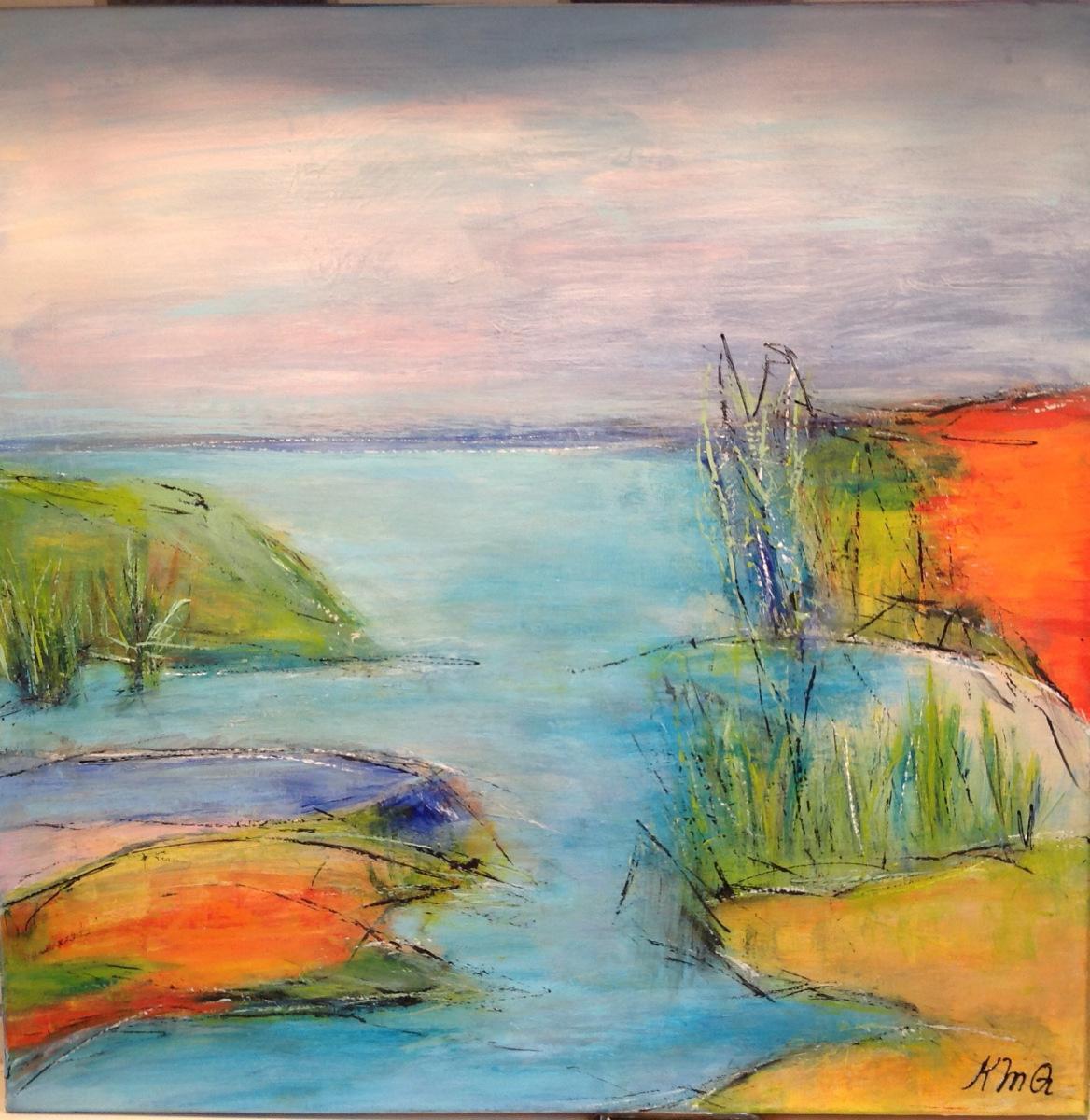 """""""Natur skildring """" 50 x 50 cm malet over"""