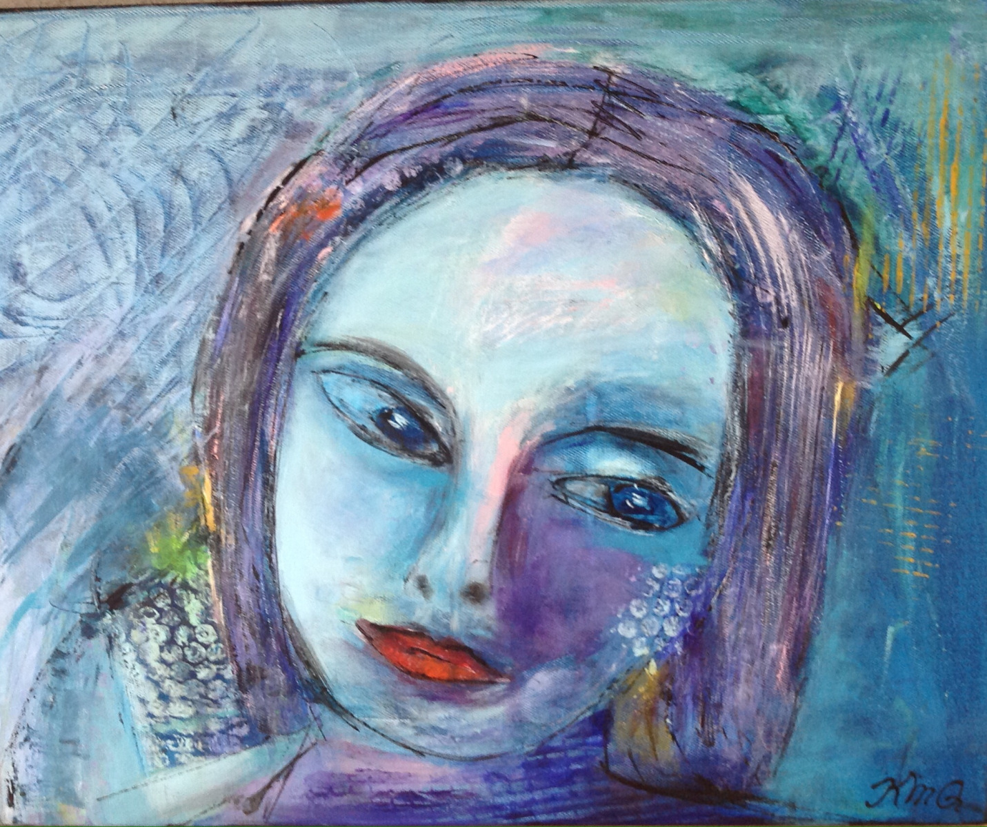 Leg med portræt maling  på kursus i Grenå
