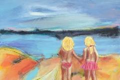 Børn ved havet 30 x30 cm