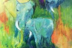 Elefanter måler 60 x 60 cm nr 2