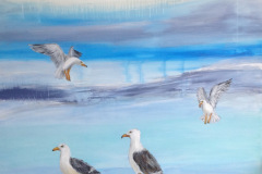 Mågerne kommer 80 x 80  Billedet befinder sig på Marina